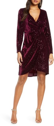 Julia Jordan Velvet Sequin Long Sleeve Faux Wrap Dress