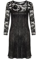 Quiz Black And Silver Lace Swing Dress