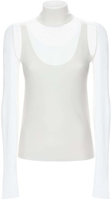 Proenza Schouler White Label Knit Neck Layered Mesh Top