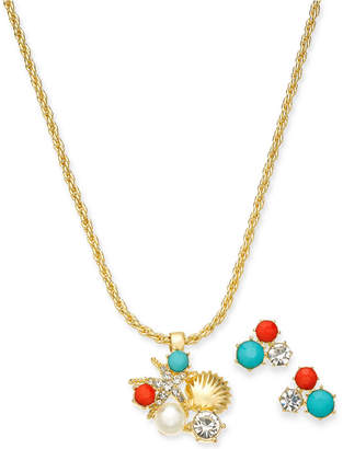 """Charter Club Gold-Tone Crystal, Stone & Imitation Pearl Seaside Pendant Necklace & Stud Earrings Boxed Set, 17"""" + 2"""" extender"""