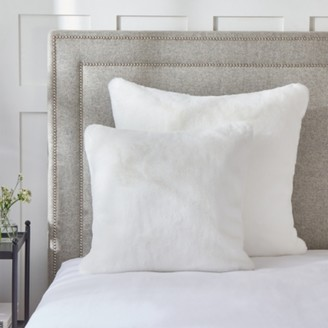 The White Company Super Soft Faux-Fur Cushion Cover, Alabaster, Medium Square
