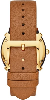 Tory Burch Gold and Tortoise Shell Tank Dial Blush Leather Strap Ladies Watch