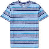 Roundtree & Yorke Soft-Washed Short Sleeve Bold Stripe V-Neck Tee