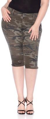 SLINK Jeans Camo Print Twill Bermuda Shorts (Plus Size)
