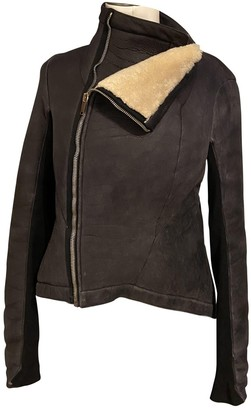 Rick Owens Brown Shearling Leather Jacket for Women