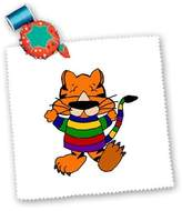 3dRose LLC All Smiles Art Cats - Funny Tiger Cat in Colorful Sweater - Quilt Squares - qs_196100_4