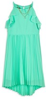 Amy Byer Pleater Halter Neck Hi-Lo Dress With Necklace (Big Girls)