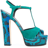 Sergio Rossi patterned block heel sandals - women - Leather/Suede - 35.5