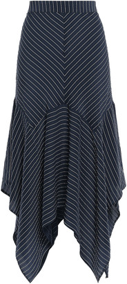 Ganni Lynch Asymmetric Striped Silk-blend Seersucker Midi Skirt