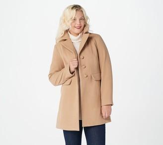 Susan Graver Faux Wool Button Front Coat