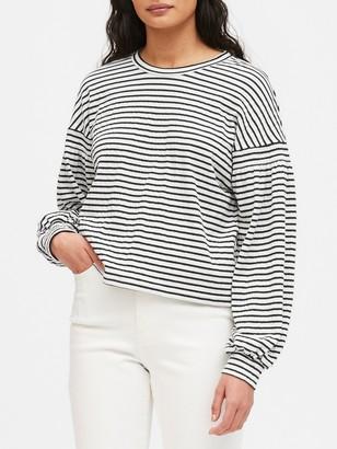Banana Republic Petite Boxy Crinkle-Knit T-Shirt