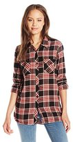 Volcom Junior's Cozy Day Long Sleeve Flannel Plaid Shirt