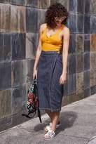 BDG Pinstripe Denim Midi Skirt