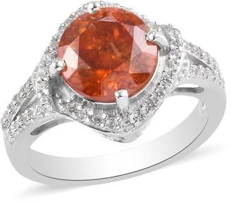 Shop Lc Platinum Over 925 Silver Sphalerite Zircon Halo Ring Size 6 Ct 4