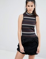 Only High Neck Stripe Co-ord Top