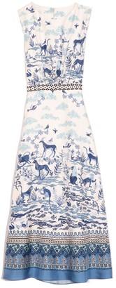 Saloni Fleur-D Dress in Porcelain Border