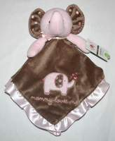 Carter's Pink Brown Elephant Mommy Love Me Security Blanket