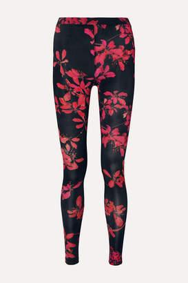 Dries Van Noten Haver Floral-print Stretch-jersey Leggings - Black