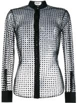 Saint Laurent polka dot tulle shirt - women - Silk/Polyamide/Viscose - 44