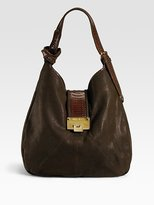 Theola Embossed Leather/Elaphe Shoulder Bag