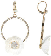 Betsey Johnson White Floral Rhinestone Earrings