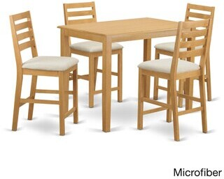 East West Furniture Natural/Beige Finish Solid Wood 5-piece Counter-height Pub Set