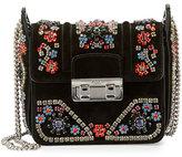Lanvin Crystal-Embellished Suede Shoulder Bag, Black
