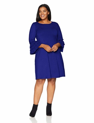 Gabby Skye Women's Plus Size 3/4 Tier Sleeve Round Neck Sweater A-Line Dress