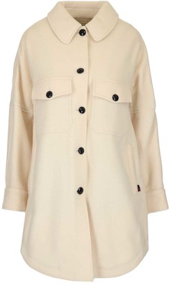 Woolrich Curved Hem Single Breasted Coat