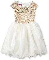 princess faith (Girls 7-16) Sequin Embellished Cap Sleeve Dress