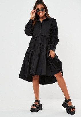 Missguided Black Extreme Oversized Smock Shirt Dress
