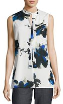 St. John Painted Oleander-Print V-Neck Shell, Blue Pattern