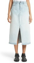 Alexander Wang Women's Denim X Bleached Denim Midi Skirt
