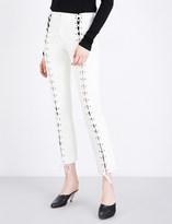 Yang Li Slim-fit lace-up leather trousers