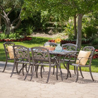 Christopher Knight Home Austin Outdoor 7-piece Cast Aluminum Rectangle Dining Set