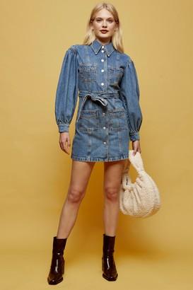 Topshop Womens Denim Puff Sleeve Mini Shirt Dress - Mid Stone