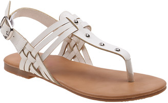 Beverly Hills Polo Club Girls' Sandals White - White & Silver Contrast Strap Sandal - Girls