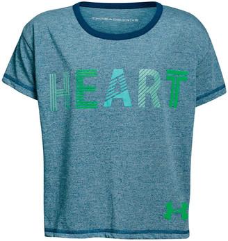Under Armour Girls Heart Tee Blue / Green XS