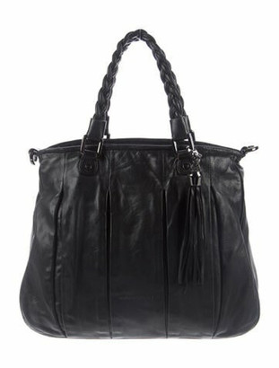 Coccinelle Pleated Leather Satchel Black