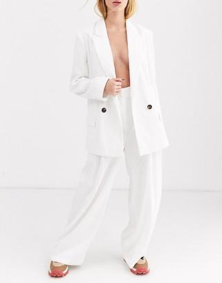 ASOS DESIGN cream cord wide leg suit pants