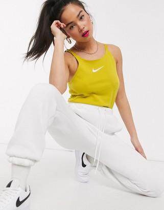 Nike Tonal Swoosh Mustard Yellow crop Vest top