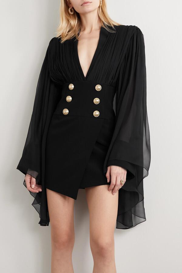 Thumbnail for your product : Balmain Gathered Silk-chiffon And Crepe Mini Dress - Black