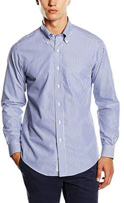 Brooks Brothers Men's Dress Non-Iron Botton Down Milano Bengal Stripe Shirt, Blue 81, (Neck in. 16 Sleeve in. 34)