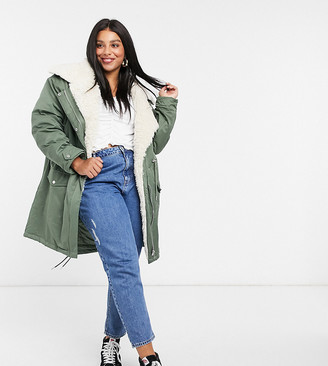 ASOS DESIGN Curve waterfall parka with fleece lining in khaki