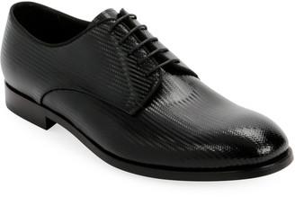 Giorgio Armani Men's Formal Patent Chevron Leather Lace-Up Shoe