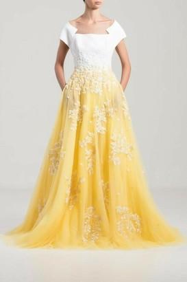 Saiid Kobeisy Long Dress with Illusion Boat Neckline