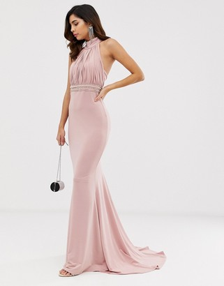 City Goddess slinky halterneck maxi dress with embellished waistband