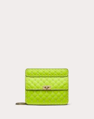 Valentino Medium Rockstud Spike Fluo Calfskin Leather Bag Women Azalea Calfskin 100% OneSize