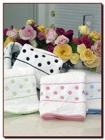 The Well Appointed House Set of Six Custom Embroidered Polka Dot Towels