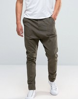 Asos Drop Crotch Pants In Washed Khaki Pique